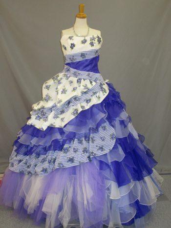 青紫のカクテルドレス(福岡博多の結婚式衣装レンタル)