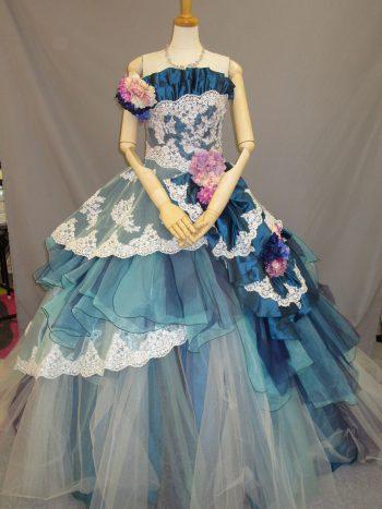 青のカクテルドレス(福岡博多の結婚式衣装レンタル)