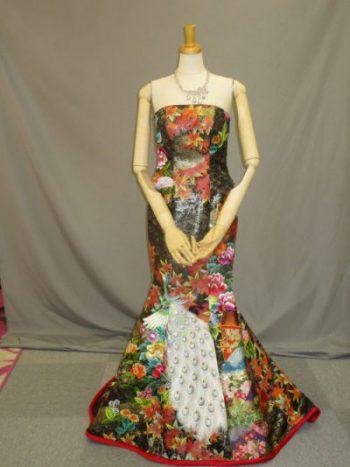 タイトな和柄カクテルドレス(結婚式衣装のレンタル)
