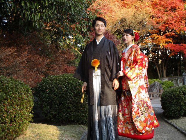 大濠公園日本庭園で紋付袴・色打掛