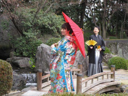 大濠公園・日本庭園での色打掛撮影