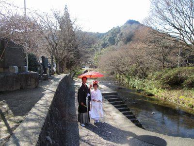 五十鈴橋 赤番傘 結婚記念写真