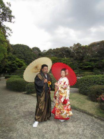 大濠公園日本庭園 紋付き袴、色打掛 結婚式前撮り写真