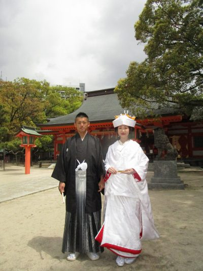 住吉神社境内にて結婚式和装前撮り