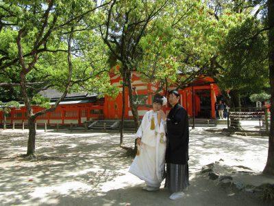福岡の住吉神社で白打掛の結婚式写真