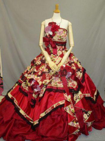 赤の和柄カクテルドレス(結婚式衣装のレンタル)